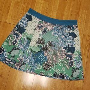 Green paisley Prana skirt sz large
